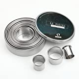 ShengHai 12 Piece Round Cookie Cutter Set, Donut Cutter Set, Stainless Steel Circle Fondant Molds for Dough Pastry Biscuits E