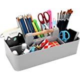 BTSKY New Stackable Plastic Portable Craft Storage Organizer Caddy Tote, Basket Caddy DIY Divided Basket Bin with Wooden Hand