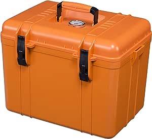 カメラ ドライボックス 耐圧式 持ち運びに便利なハンドル付き 【オレンジ×ブラック】 Lサイズ 大石電機