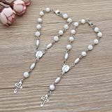 Baptism Favor (12 PCS) Mini Rosaries with Clasp Decade Rosary Recuerditos Bautizo Christening First Communion Rosary White Be