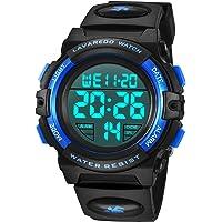 子供腕時計 男の子 デジタル腕時計 ボーイズスポーツウォッチ アウトドア多機能50m防水 アラート 日付曜日表示 デュア…