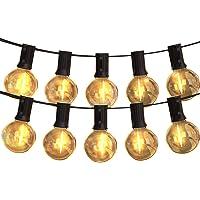 LEDストリングライト 防雨型 11.5m 24個電球 G40 E12口金 電球色 PC素材 破損しにくい 屋内/屋外照…