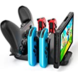 ALLEASA 6 in 1 Controller Charger Dock Station for Nintendo Switch, Support 4 JoyCon and 2 NS Pro controllers to charge simul