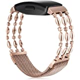 KOREDA Compatible with Fitbit Inspire/Inspire 2/Inspire HR Bands for Women Men, Stainless Steel Metal Chain Bangle Strap Wris