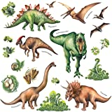 DECOWALL DS-8034 Watercolour Dinosaur Kids Wall Stickers Wall Decals Peel and Stick Removable Wall Stickers for Kids Nursery