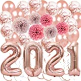 28 Pack Rose Gold New Years Party Decorations Kit, 2021 Rose Gold Mylar Balloon Rose Gold Confetti Balloons Paper Pom Poms Ha