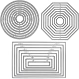 3 Different Shapes of Cutting Dies Stencil Metal Template Molds (Rectangle, Circle & Octagon), SourceTon 24 Pieces Embossing