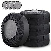 【Amazon限定ブランド】 ZATOOTO タイヤカバー 4本 タイヤ 収納 保管カバー フェルトパッド4枚付き タイ…