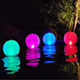Esuper Floating Ball Pool Light Solar Powered 4 Pack, 14 Inch Inflatable Hangable IP68 Waterproof Rechargeable 4 Color Changi