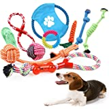 TFHEEY Dog Rope Toys 10 Pieces, Cotton Rope Puppy Toy Including Rope Ball, Frisbees and Durable Rubber Ring Biting Toys for S