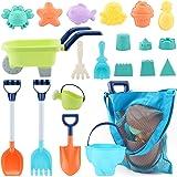 MINGPINHUIUS Beach Toys Kids Boys Beach Sand Toy Set with Barrow Elephant Bucket Two Big Shovels One rake and Mesh Bag Soft P