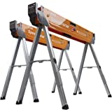 Bora Portamate Speedhorse Sawhorse Pair– Two Pack, Table Stand with Folding Legs, Metal Top for 2x4, Heavy Duty Pro Bench Saw