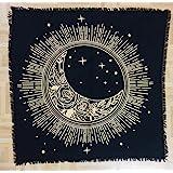 Golden Sun Moon Altar Cloth 3636 Inches Table Cloth Black Gold Pattern Universe Premium Spiritual Cotton Altar Cloth (Sun, St