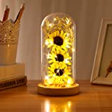 OSALADI Enchanted Sunflowers with Fairy Lights in Glass Dome for Home Indoor Festival Party Decorations Gift (Yellow)