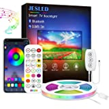 Led Strip Lights Music Sync, JESLED 3m USB LED TV Backlight Kit with IR Remote for 40-60in TV, 16 Color Changing 5050 LEDs Bi