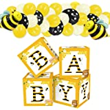 Bee Baby Shower Balloon Boxes Honeybee Blocks Happy Bee Day Party Supplies What Will It Bee Gender Reveal Mommy to Bee Pregna