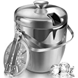 Ice Bucket Insulated with Tongs and Lids 3.4 Quarts for Parties and Bar, Stainless Steel Double Wall with Strainer