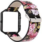 Women Flower Watch Strap for Fitbit Blaze Bands, Soft Leather Wristband Bracelet with Metal Frame for Fitbit Blaze Smart Fitn