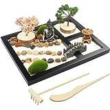"""Japanese Zen Garden for Desk - Sakura Budah 9"""" x 7"""" Desktop Mini Zen Garden with White Sand Artificial Bonsai Tree Rocks Rake"""
