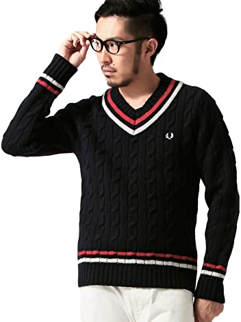 Beams x Fred Perry Cricket Sweater 11-15-0466-060: Navy