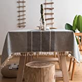 ColorBird Stitching Tassel Tablecloth Heavy Weight Cotton Linen Fabric Dust-Proof Table Cover Kitchen Dinning Tabletop Decora