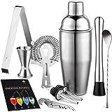FLINT Cocktail Shaker Gift Set - 9 PCS Drink Mixing Barware Set | 750ml Cocktail Shaker, Mixing Spoon, Muddler, Ice Tongs, Ji