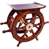 Wooden Ship Wheel Home Decor Table   Pirate's Antique Brass Hub Motiff   Nagina International (72 Inches)
