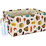 FUNNYGO Rectangular Storage Basket Collapse Canvas Fabric Cartoon Storage Cube Bin with Handles for Organizing Home/Kitchen/K