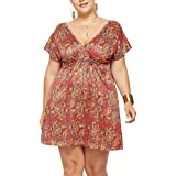 MS Mouse Womens Wrap V Neck Floral Printed Short Sleeve Casual Plus Size Dress