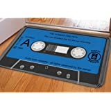 HUGS IDEA Stylish Blue Cassette Print Door Mat Indoor Outdoor Welcome Floor Doormat Front Carpet
