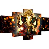 AMEMNY Canvas Painting Wall Art Home Decor for Living Room HD Prints 5 Pieces Elephant Trunk God Modular Poster Ganesha Pictu