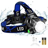 Super Bright Headlamp, USB Rechargeable Led Head Lamp, IPX4 Zoomable Waterproof Headlight with 4 Modes and Adjustable Headban