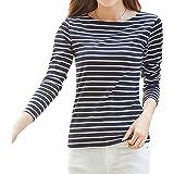 WTSHOPME XinQiDian Women Striped Long Sleeve T-Shirt Top Tees Blouse