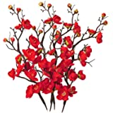 LSME Artificial Silk Plum Blossom Branch Single-Piece Real Touch for Wedding Bouquet Home Hotel Office Table Decor 4 Bouquet