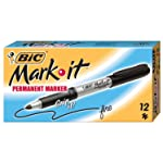 BIC Rubber Grip Mark It Permanent Markers Fine Bullet Tip - Black, Box of 12
