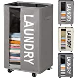 ZERO JET LAG 90L Extra Large Laundry Basket Tall Laundry Hamper on Wheels Collapsible Dirty Clothes Hamper Organizer Rolling