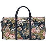 Signare Tapestry Navy & Pink Carry-on Overnight Weekender Duffel Travel Bag with Peony Flower Black (BHOLD-PEO)