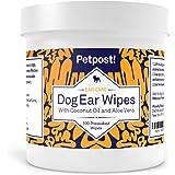 Petpost | 猫と犬用耳クリーニングシート - ココナッツオイルとアロエエキスを含んだシート100枚 - ワンちゃ…