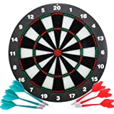 Safety Dart Board Set for Kids and Adults,16 Inch Soft Rubber Dart Board Game with 6 Darts for Outdoor/Indoor Family and Offi