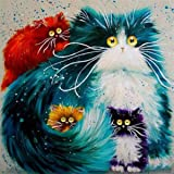 EOBROMD 5D DIY Diamond Painting Kit Round Drill Arts Crafts Wall Stickers for Living Room The Cats (12X12inches/30X30cm)
