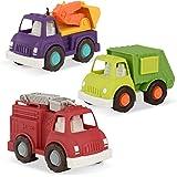 Wonder Wheels by Battat – Fire Truck, Recycling Truck, Excavator Truck – Combo of Recycling, Excavator, & Fire Truck Toys for