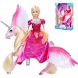 Pink Sparkle Unicorn and Fairy Tale Princess Doll, W/ Crystal Comb and Fairy Stick, Girls' Unicorn Doll Toys Gifts, Presents