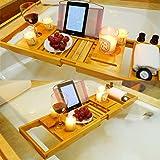 バスタブトレー バスタブラック 竹製 バステーブル お風呂用 バスグッズ 伸縮式 (70-105.5)x22cm