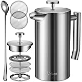 Veken French Press Double-Wall 18/10 Stainless Steel Coffee & Tea Maker, Multi-Screen System, 2 Extra Filters Included, Rust-