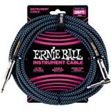 Ernie Ball P06060 Ernie Ball 7.5 Meter Braided Straight/Angle Instrument Cable, Black/Blue, Black/Blue, 7.5 Meters