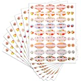 Leinuosen 8 Sheets Essential Oil Bottle Labels Oval and Round Labels Colorful Bottle Stickers for Essential Oil Bottles, 432