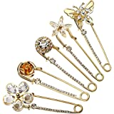 Top Plaza Mothers Day Gift Pack of 5 Women Fashion Rhinstone Crystal Accented Golden Safety Pin Jewelry Brooch Breastpin - Ca