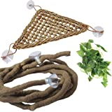 PIVBY Bearded Dragon Hammock Jungle Climber Vines Flexible Reptile Leaves with Suction Cups Habitat Decor for Climbing, Chame