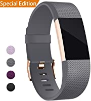 Hotodeal Band Compatible with Fitbit Charge 2 Band, Classic Soft TPU Adjustable Bands Fitness Sport Strap Rose Gold...