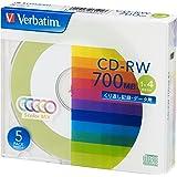 バーベイタムジャパン(Verbatim Japan) くり返し記録用 CD-RW 700MB 5枚 ツートンカラーディスク 1-4倍速 SW80QM5V1
